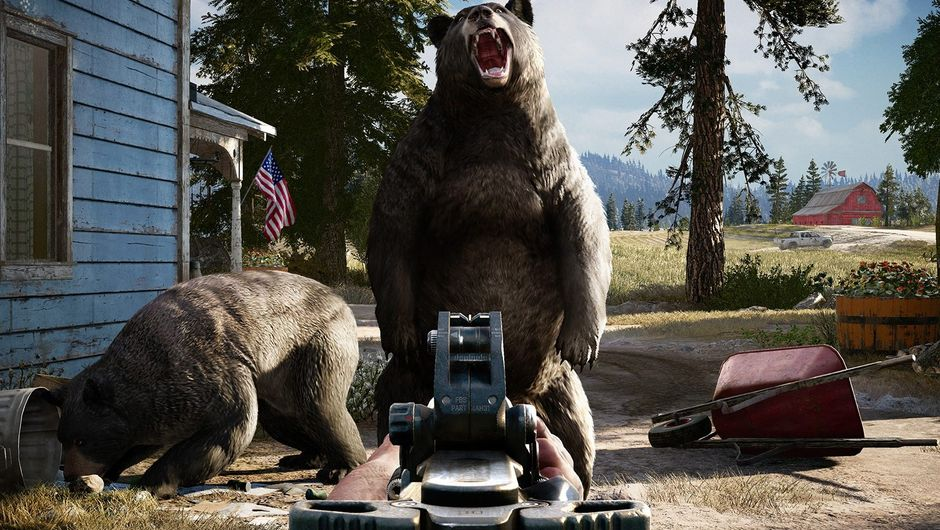 A view down the sights of a gun with a large bear in them