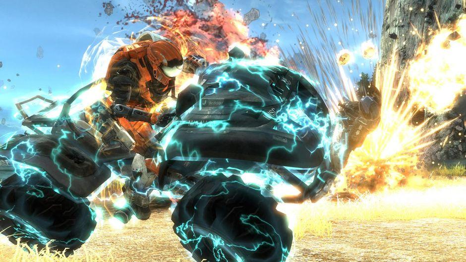 A quad vehicle close to exploding from Halo Reach