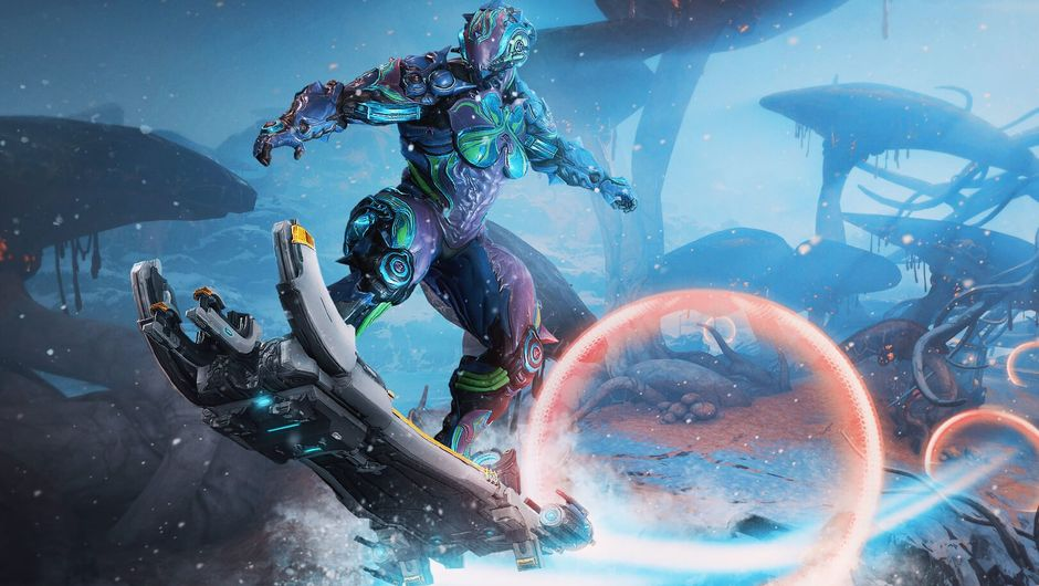 Picture of the Warframe Hildryn on a hoverboard