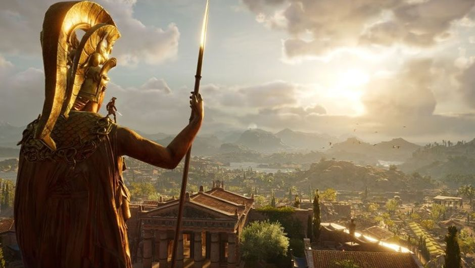 A man standing on a huge bronze statue in Assassin's Creed: Odyssey