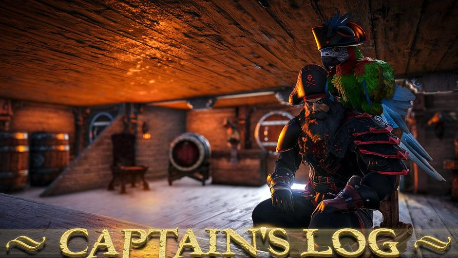 Picture of a pirate captain with a parrot on his shoulder in Atlas