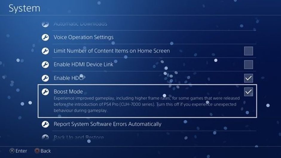 A screenshot of the boost mode setting on the PS4 Pro.