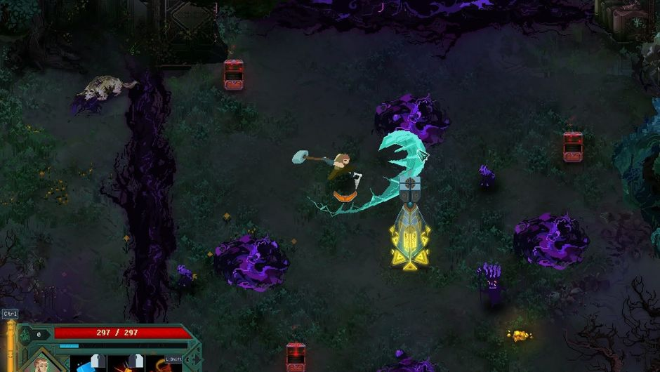 Picture of a player fighting enemies in Children of Morta