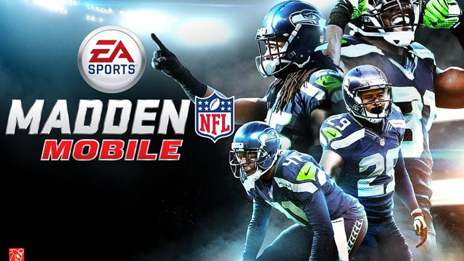 Promotional image of Madden NFL mobile showing dudes with helmets looking all sporty