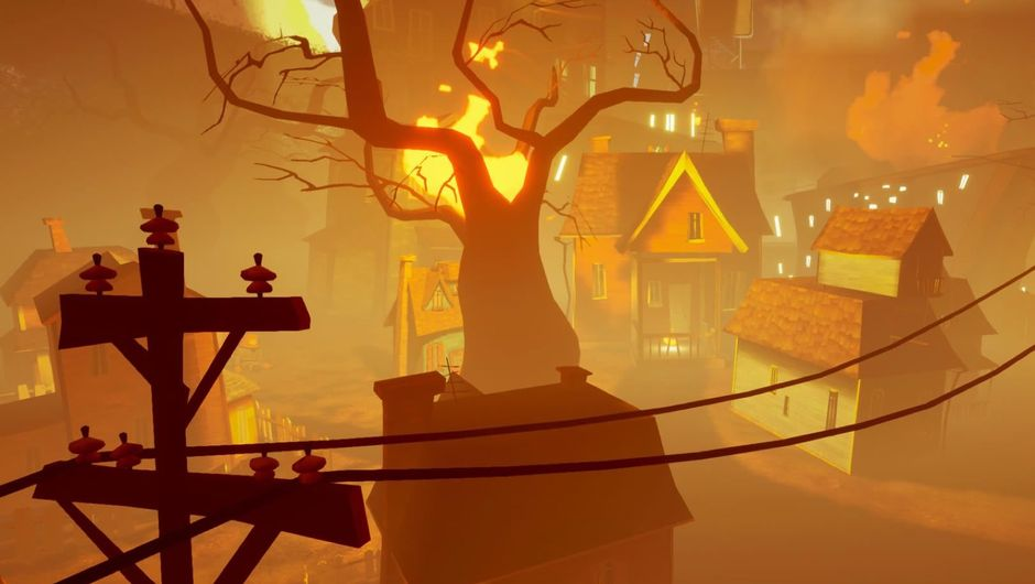 A town covered in orange mist from Hello Neighbor: Hide & Seek