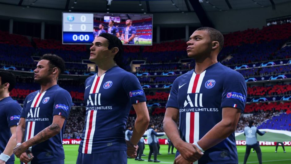 PSG lineup in FIFA 20 UCL match.