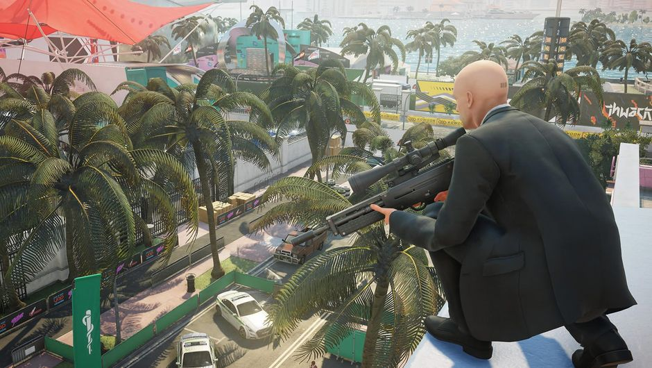Bald man in black clothes from Warner Bros' game Hitman 2