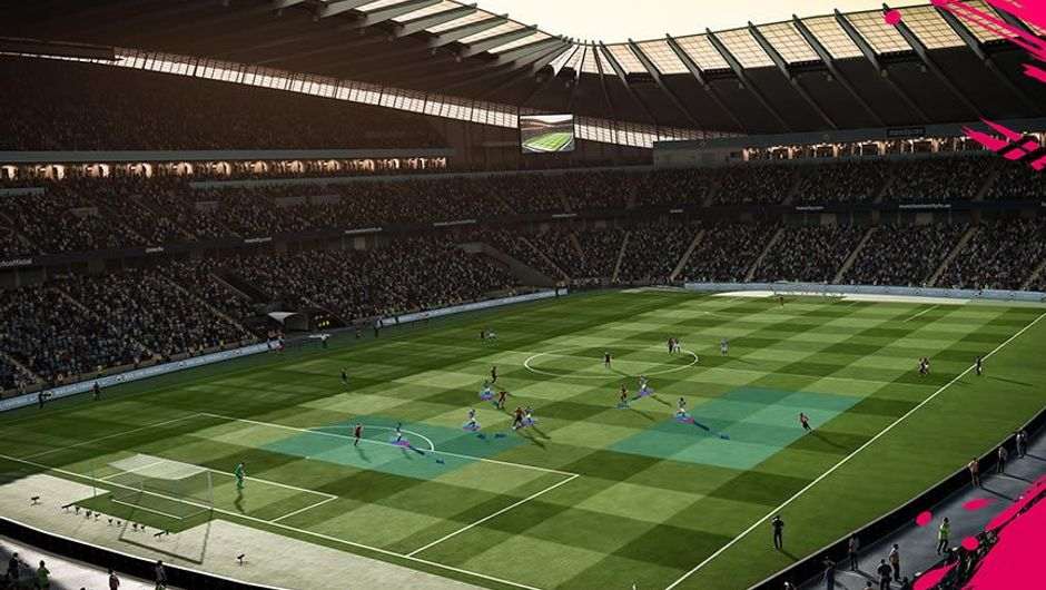 Screenshot of a stadium in EA Sports' football game FIFA 19
