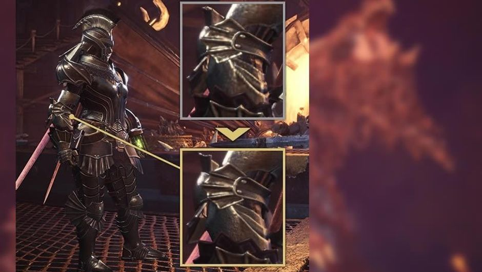 Armoured soldier graphics comparison in Monster Hunter: World