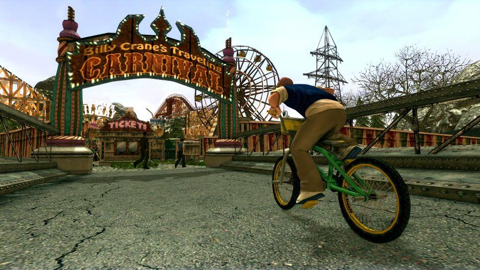 Bully screenshot showing a kid on a bike