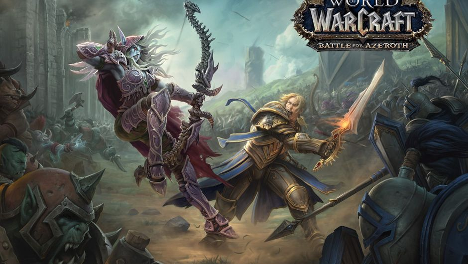 Promotional poster for World of Warcraft showing Sylvannas Windrunner fighting Anduin Wrynn on the battlefield.