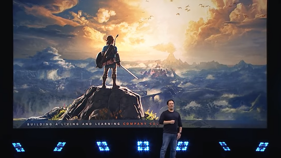 Phil Spencer menioning The Legend of Zelda during his DICE 2018 speech