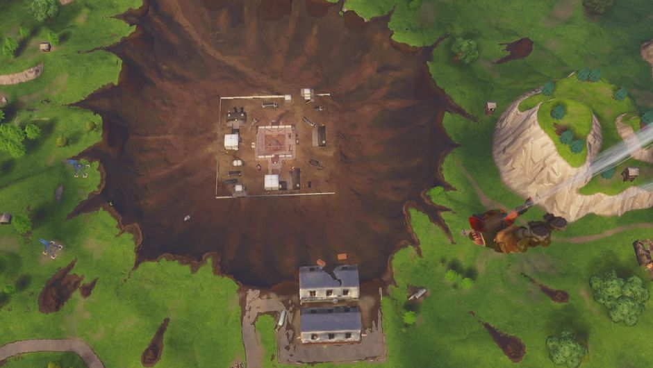 The crater on Fortnite's map that replaced Dusty Depot