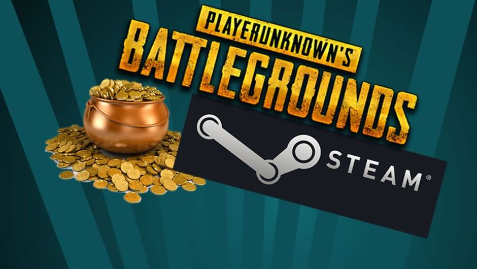 Steam digital platform logo, PUBG logo and pot of gold