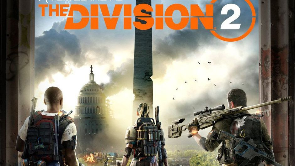 Promotional image for The Division 2 showing SHD agents in front of Washington Monument