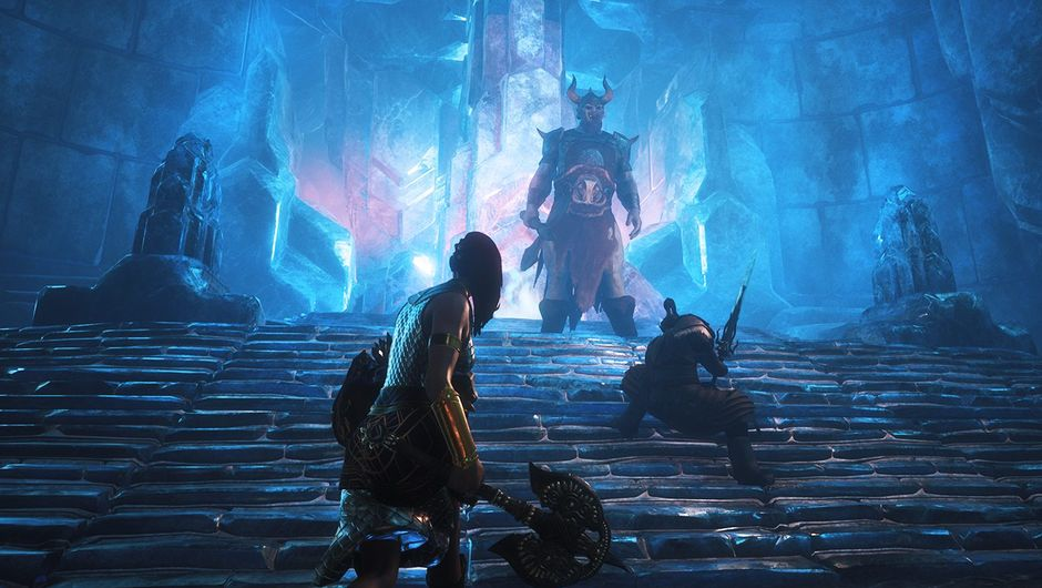 Players are preparing to fight some giant dude in a cave