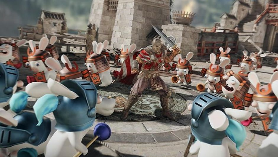 For Honor character fighting Rabbids in April Fools' Day event