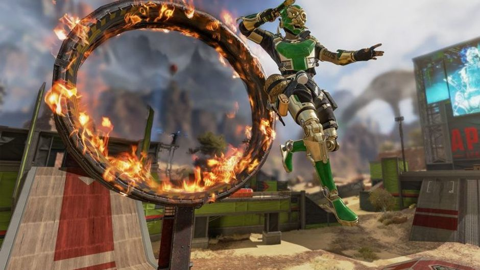 Apex Legends screenshot showing a character jumping trough ring of fire
