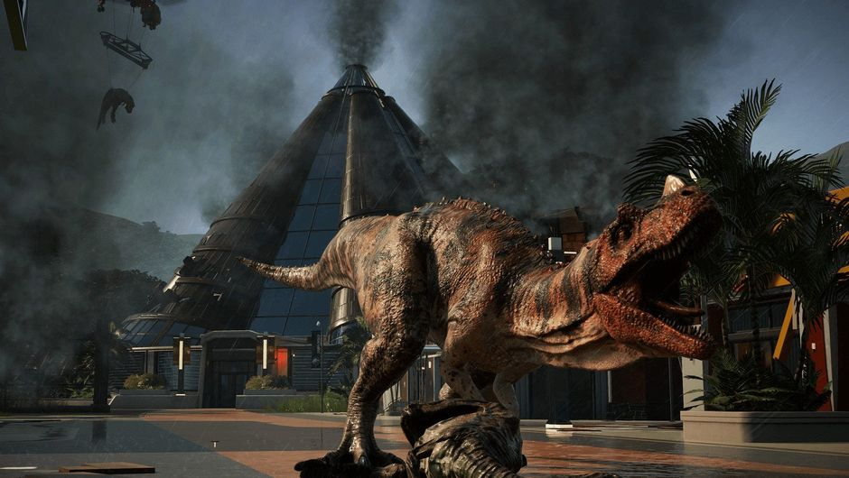 A T-Rex is wreaking havoc all over the place in Jurassic World Evolution