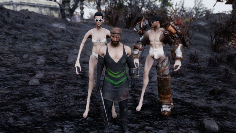 Picture of several people in Fallout 76, some of them warped by power armour