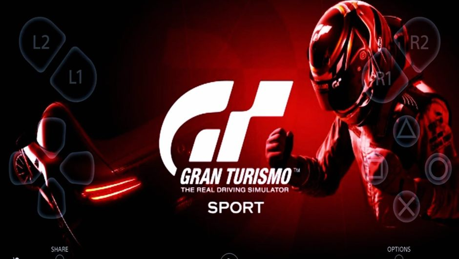 Gran Turismo Sport logo screen with the PS4 Remote Play app layout.