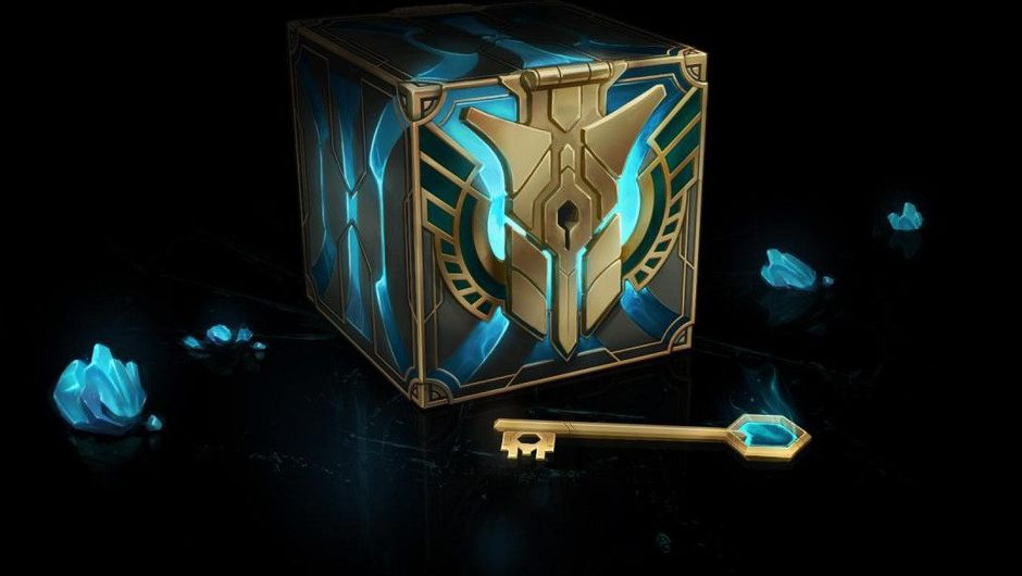 A picture of a blue/gold Hextech Chest and Key set from League of Lgends. Basically a fancy name for loot boxes.