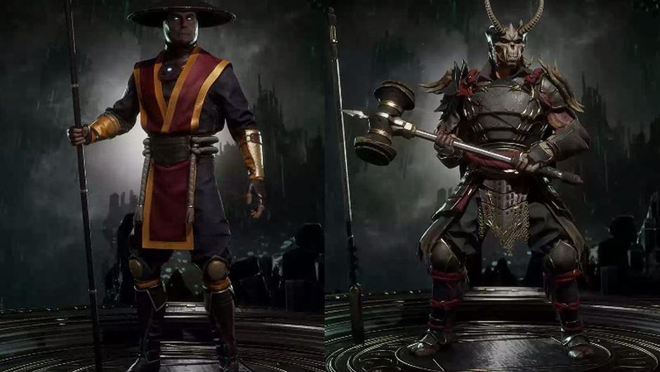 mortal kombat 11 screenshot showing raiden and shao khan in their alternative costumes