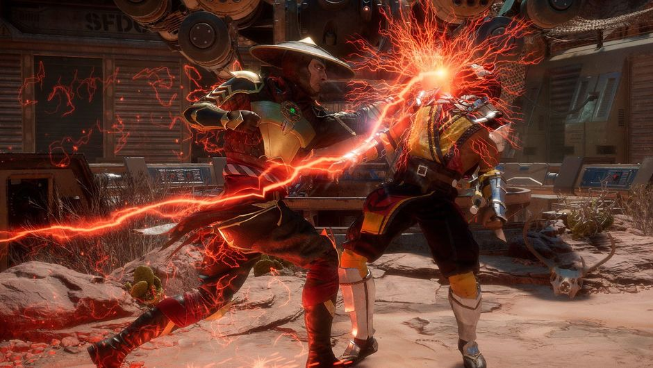 Picture of Raiden and Scorpion fighting in Mortal Kombat 11