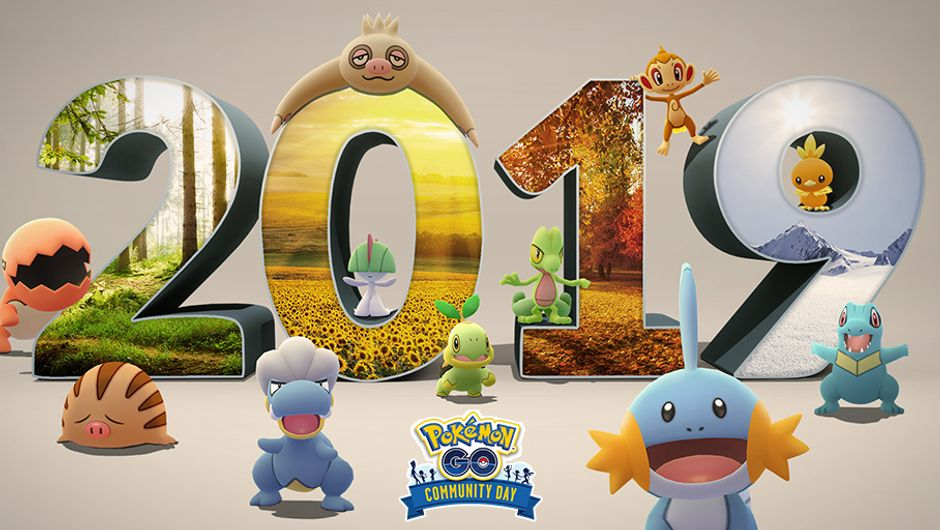 artwork showing various Pokemon and 2019