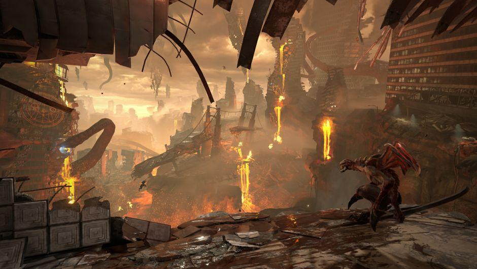 Overlooking the chaos in DOOM Eternal.