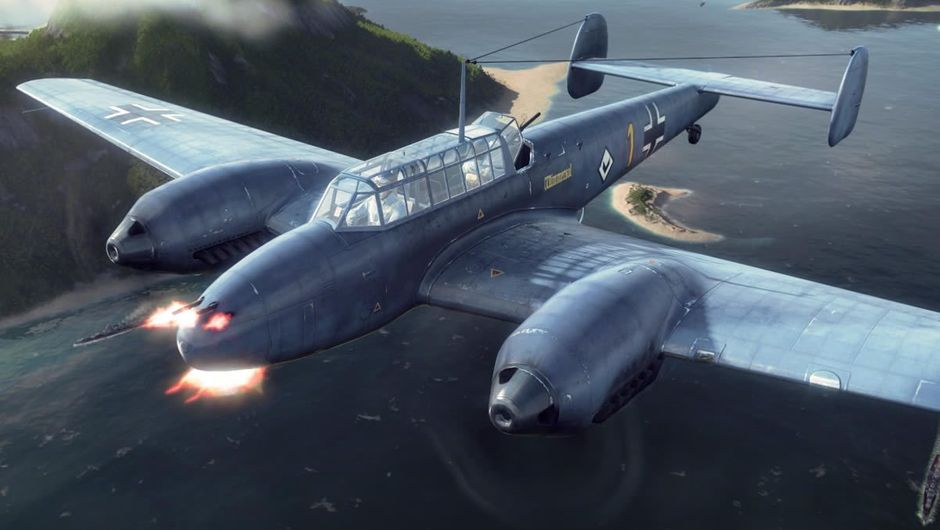 A twin engine plane flying in World of Warplanes