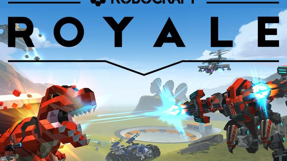 Poster art for Robocraft spin off, Robocraft Royale showing robotic T-Rex fighting with a mech on a plain field during a sunny day.