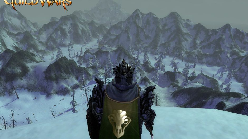 A lonesome warrior looks at the frozen hills in Guild Wars