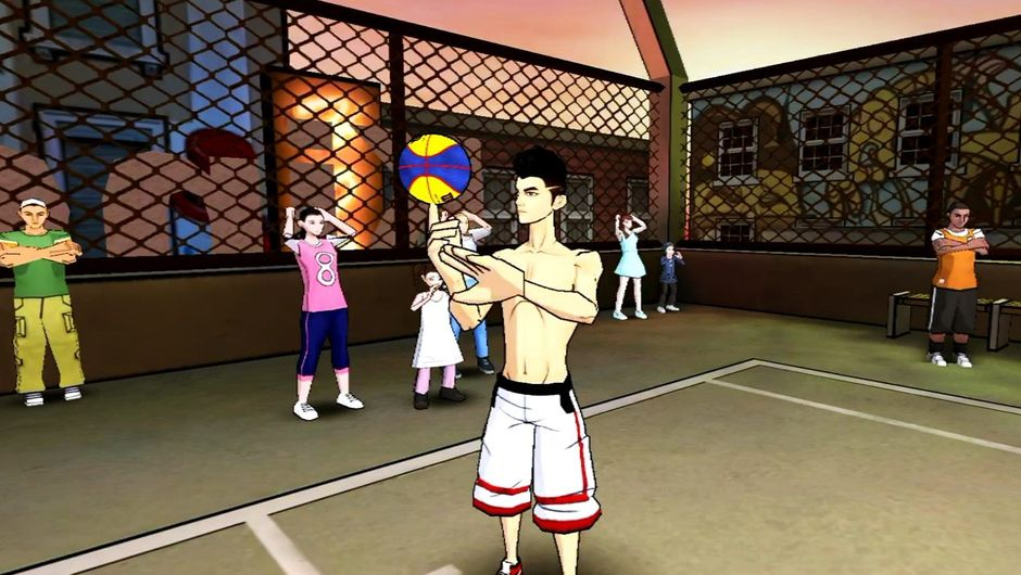 Player spinning the ball on his finger in Dunk Nation 3x3.