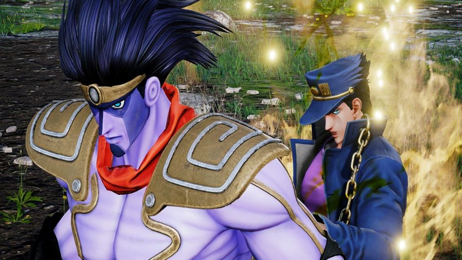Jotaro Kujo with his Stand in Jump Force.