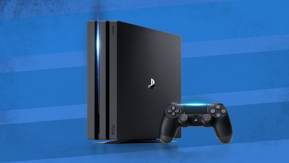 Picture of a Jet Black PlayStation 4 Pro next to a PS4 controller
