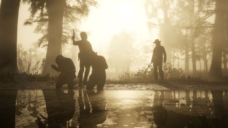 RDR2 characters shooting men in the back in a swamp somewhere