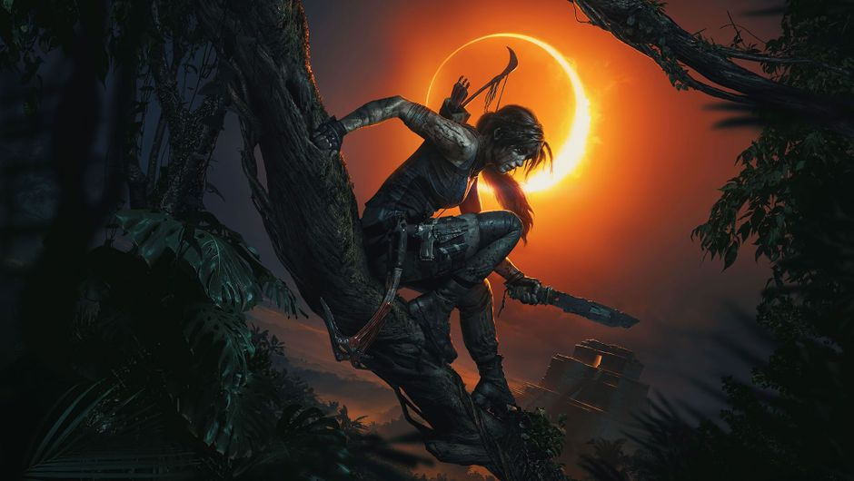 Lara Croft holding a machette in Shadow of the Tomb Raider