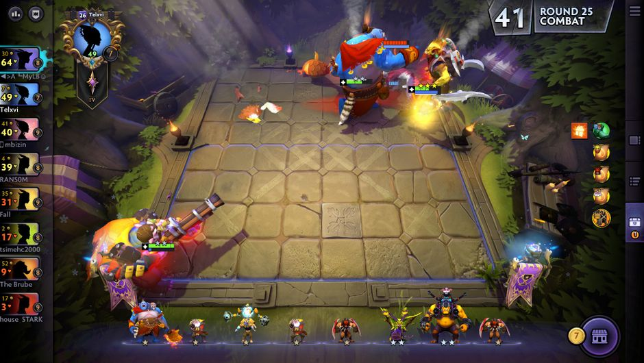 dota underlords screenshot of bloodbound units fighting a loot round