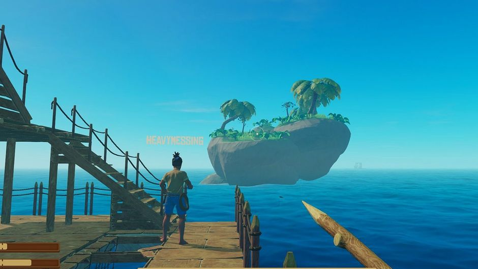 Raft screenshot of player character staring at a conveninently palced island