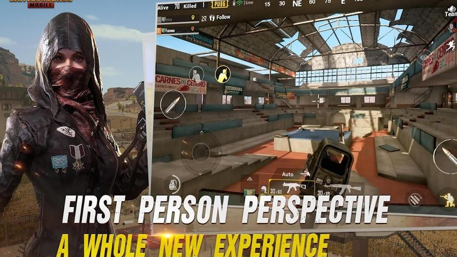 Poster for PUBG Mobile advertising first person perspective