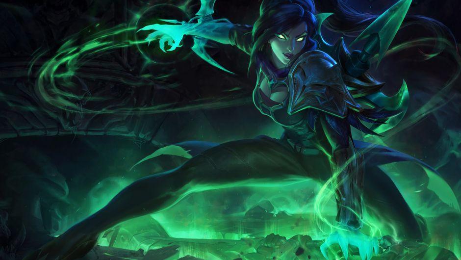 Splash art for Soulstealer Vayne in green and dark tones of blue.