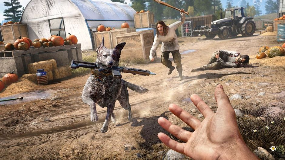 Boomer the Far Cry 5 dog playing fetch with an assault rifle.