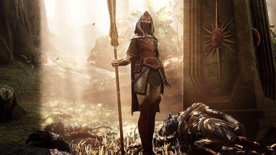 Warhammer: Vermintide 2's handmaiden standing by a dead enemy