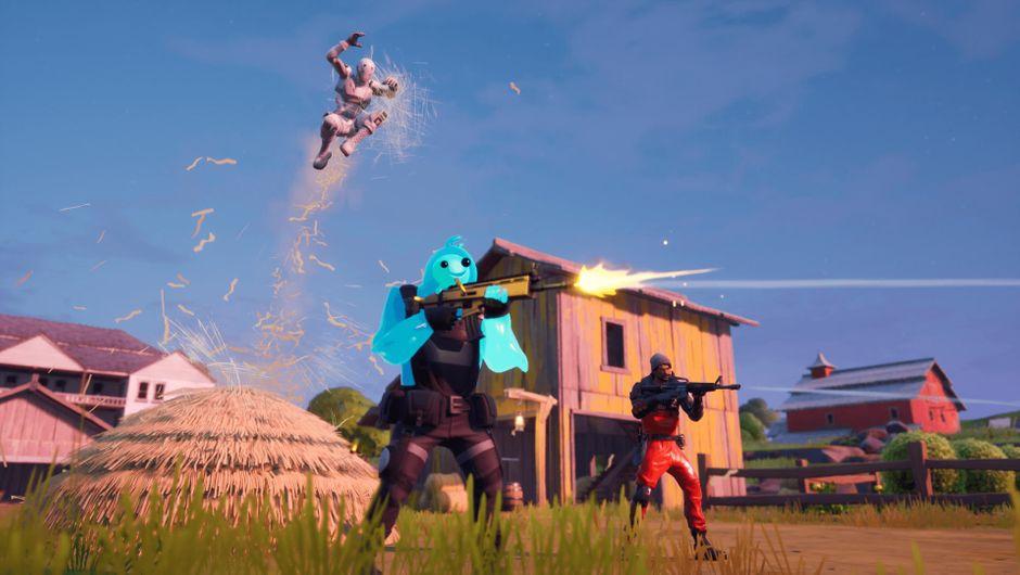 Fortnite characters running around the new island