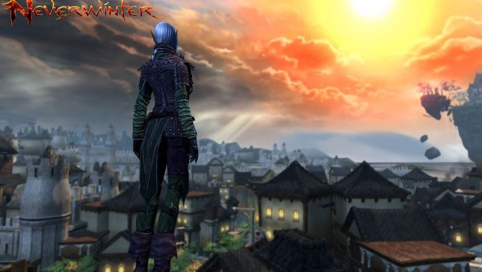 An elf is looking at the setting sun above a small town.