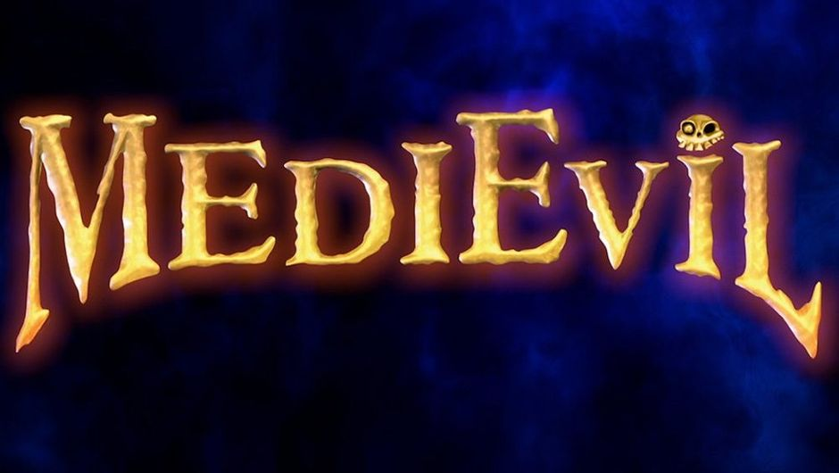 Picture showing Medievil logo on a dark blue background