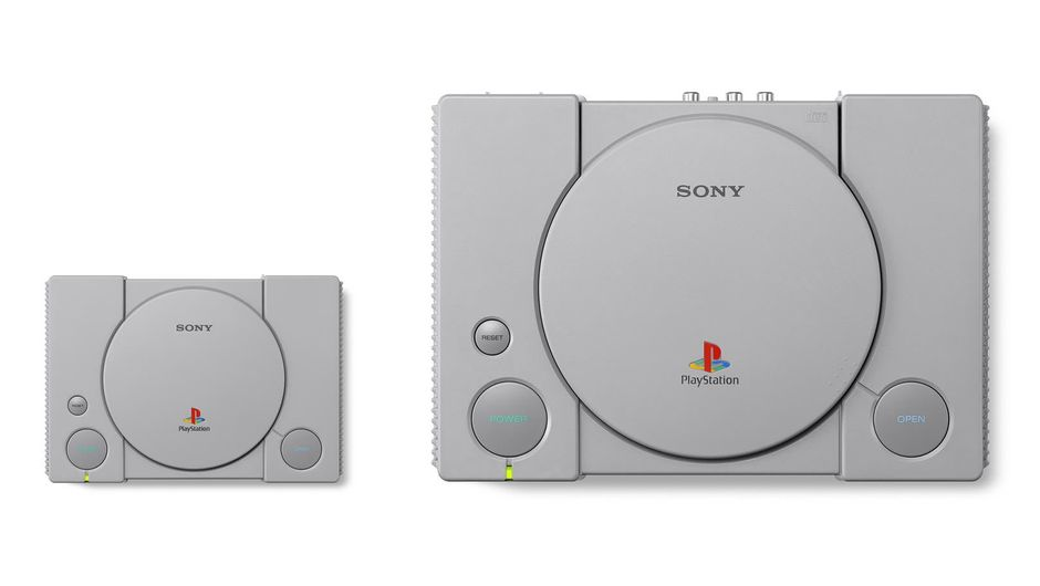 Size comparison between PlayStation Classic and PlayStation