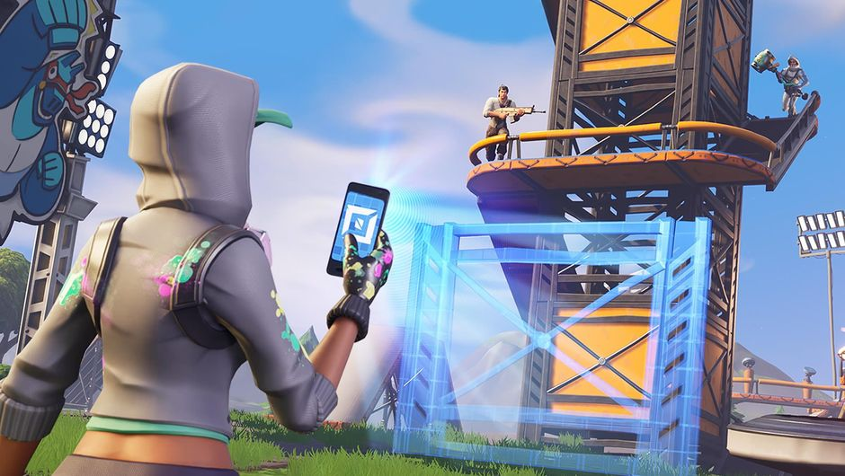 A person taking a picture of a building in Fortnite: Battle Royale