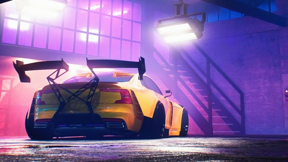 Need for Speed Heat screenshot showing a yellow car with big spoiler